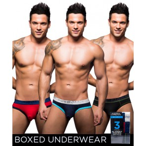 Andrew Christian - Pack 3 Slips Almost Naked Cotton Marine - Rouge - Noir